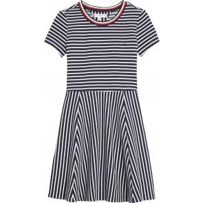 Tommy Hilfiger kids girls stripe knit skater dress jurk in de kleur blauw/wit