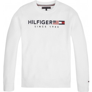 Tommy Hilfiger kids boys gebreide hilfiger flag sweater trui in de kleur off white