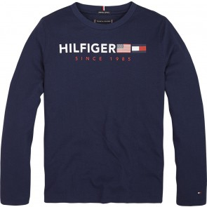 Tommy Hilfiger kids boys longsleeve shirt flags graphic tee in de kleur donkerblauw