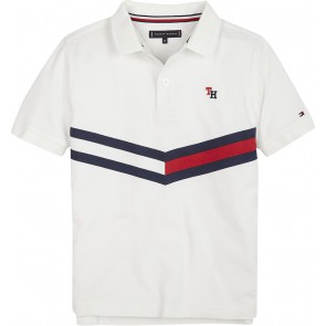 Tommy Hilfiger kids boys chevron flag polo shirt in de kleur off white