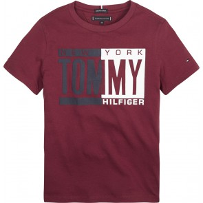 Tommy Hilfiger kids boys shirt met logo print in de kleur bordeaux rood