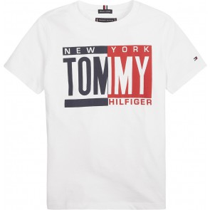 Tommy Hilfiger kids boys puff print tee shirt in de kleur off white
