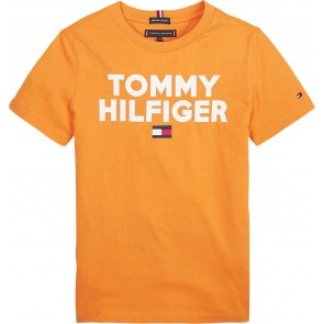 Tommy Hilfiger kids boys logo tee shirt in de kleur oranje