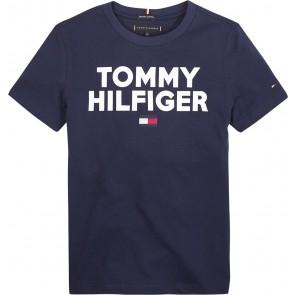 Tommy Hilfiger kids boys logo tee shirt in de kleur donkerblauw