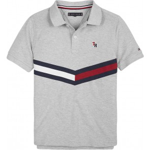 Tommy Hilfiger kids boys chevron flag polo shirt in de kleur grijs