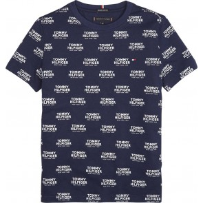 Tommy Hilfiger kids boys all over mini logo print shirt in de kleur donkerblauw