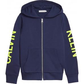 Calvin Klein kids boys neon logo zip hoodie sweatvest in de kleur donkerblauw