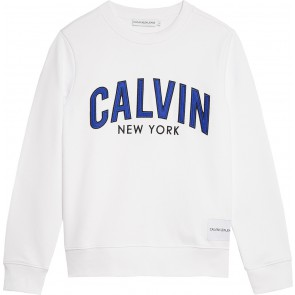 Calvin Klein kids boys logo patch terry sweater trui in de kleur wit