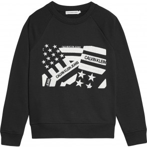 Calvin Klein kids boys flag embroidered sweater trui in de kleur zwart