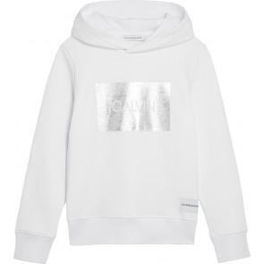 Calvin Klein kids girls silver box terry hoodie sweater trui in de kleur wit