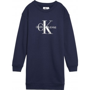 Calvin Klein kids girls monogram sweat dress jurk in de kleur donkerblauw