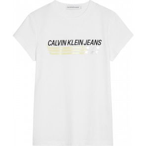 Calvin Klein kids girls logo print star slim fit tee in de kleur wit
