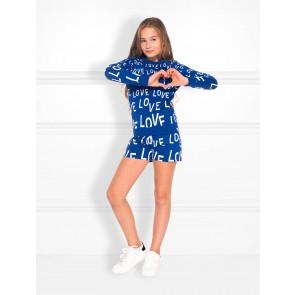 NIK en NIK love sweatshort korte broek met loveprint in de kleur kobalt blauw