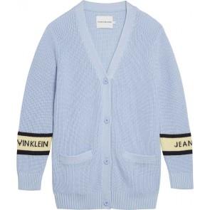Calvin Klein kids girls lang gebreid vest in de kleur lichtblauw