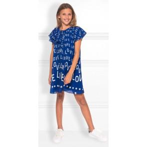 NIK en NIK Velo dress jurk met witte loveprint in de kleur kobaltblauw