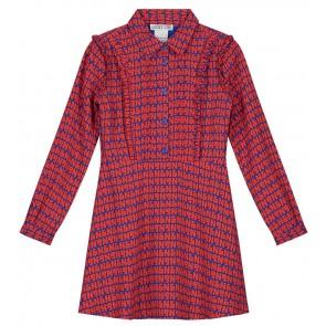 NIK en NIK Belisa dress jurk met oranje logoprint in de kleur kobaltblauw