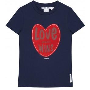 NIK en NIK Love wins t-shirt met hart in de kleur donkerblauw