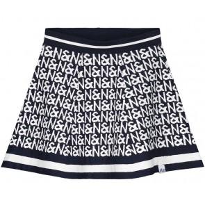 NIK en NIK Indy N&N skirt rok met witte logoprint in de kleur donkerblauw
