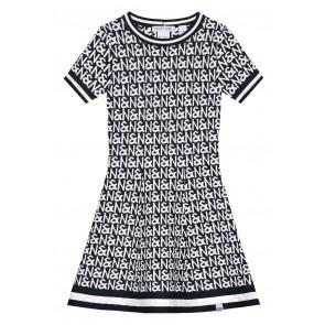 NIK en NIK Jintha N&N dress jurk met witte logoprint in de kleur donkerblauw