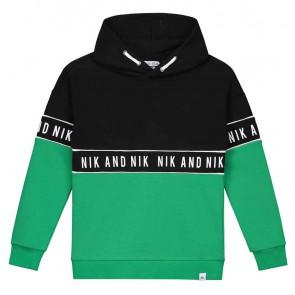 NIK en NIK Marvus hoodie trui met logotape in de kleuren groen en zwart