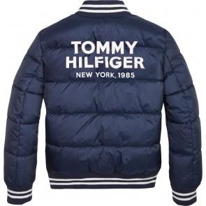 Tommy Hilfiger boys padded bomber jacket met logo in de kleur donkerblauw
