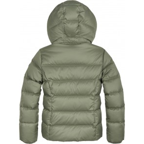 Tommy Hilfiger girls padded jas met fake bontkraag in de kleur groen