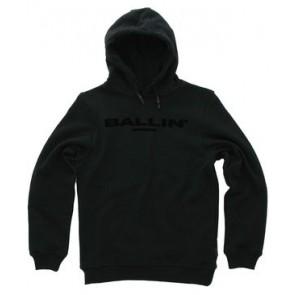 Ballin Amsterdam hoodie trui met velvet zwart logo in de kleur zwart