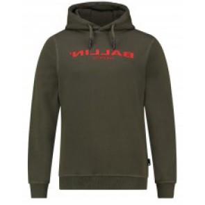 Ballin Amsterdam hoodie trui met rood logo in de kleur groen
