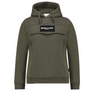 Ballin Amsterdam hoodie anorak trui met logo in de kleur groen