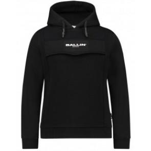 Ballin Amsterdam hoodie anorak trui met logo in de kleur zwart