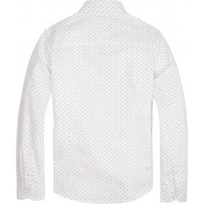 Tommy Hilfiger boys blouse met donkerblauwe print in de kleur wit