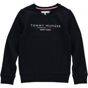 Tommy Hilfiger girls sweater trui met logo in de kleur donkerblauw