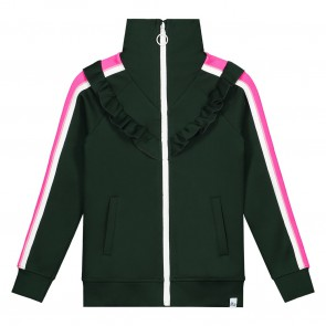 Nik en Nik girls lucky trackjacket in de kleur bottle green groen
