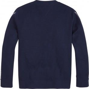 Tommy Hilfiger intarsia logo rib sweater in de kleur donkerblauw