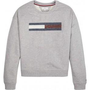 Tommy Hilfiger sweater trui lurex flag sweater trui slouchy sweatshirt in de kleur grijs