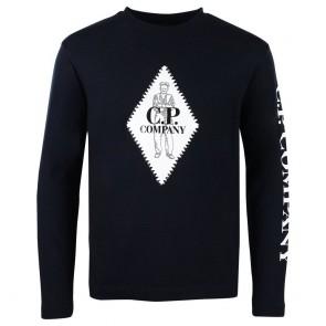 Cp Company undersixteen longsleeve jersey shirt in de kleur donkerblauw