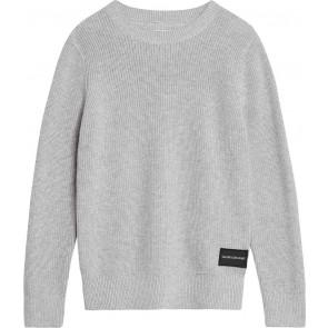 Calvin Klein jeans boys gebreide regular crew sweater in de kleur grijs