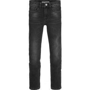 Calvin Klein jeans boys skinny broek in de kleur worn black stretch in de kleur zwart