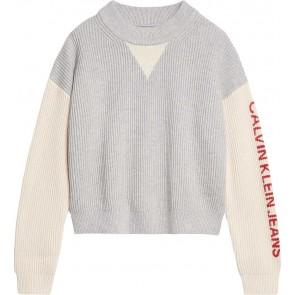 Calvin Klein jeans girls gebreide trui color block logo sweater in de kleur grijs