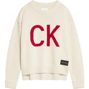 Calvin Klein jeans girls gebreide trui logo intarsia sweater in de kleur ecru