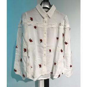 IKKS kids girls blouse met roezels en geborduurde bloemen in de kleur off white