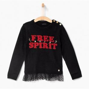 IKKS kids girls gebreide trui free spirit met knoopjes in de kleur zwart