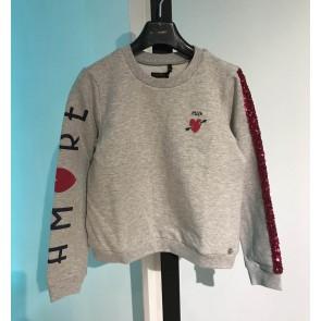 IKKS kids girls sweater trui met glitters en pailletten in de kleur grijs