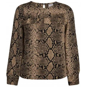 Retour Jeans Fien blouse met slangenprint in de kleur bruin
