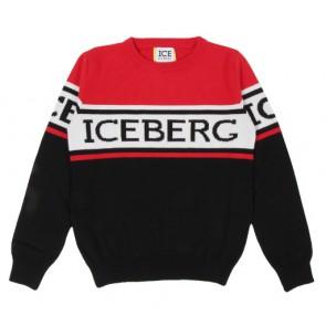 Iceberg kids boys fijngebreide trui met logo print in de kleur zwart/rood