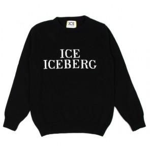 Iceberg kids boys fijngebreide trui met logo print in de kleur zwart