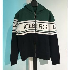 Iceberg kids boys capuchon  vest met logo print in de kleur groen/blauw