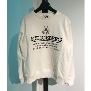 Iceberg kids boys sweater trui met logo print in de kleur off white