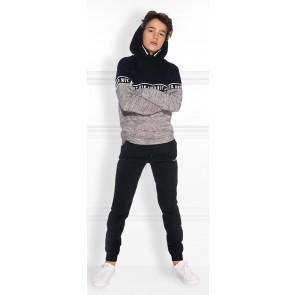 NIK en NIK Marvus hoodie trui met logoband in de kleur gemêleerd grijs