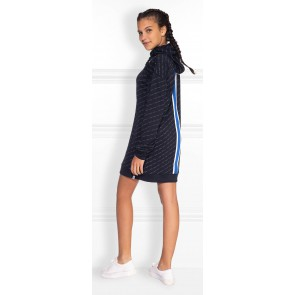 NIK en NIK Track dress jurk met logoprint en bies in de kleur donkerblauw